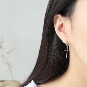 New Sterling Silver 925 Cross huggie hoop earrings